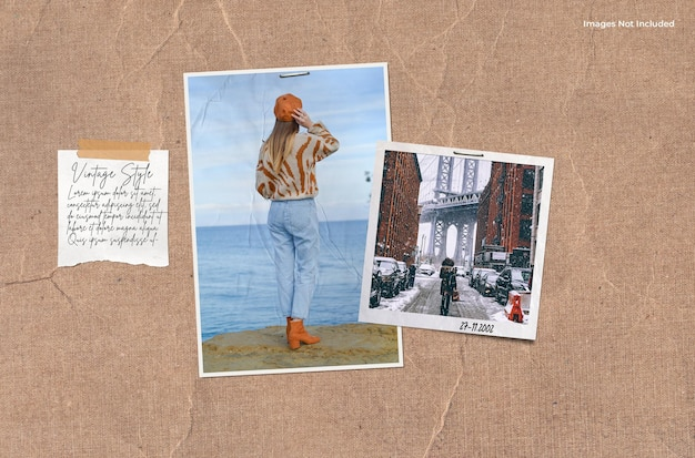A pair of photos with a note mood board