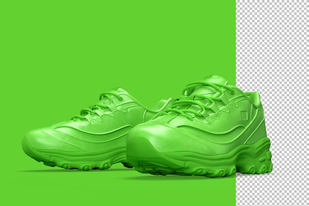 Pair of sport sneakers shoes on green
