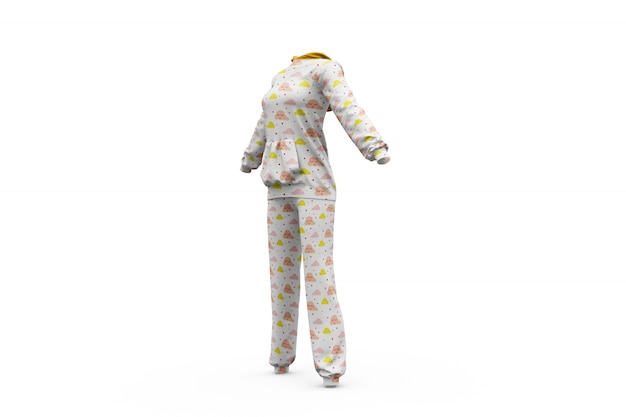 Pajamas mock-up isolated