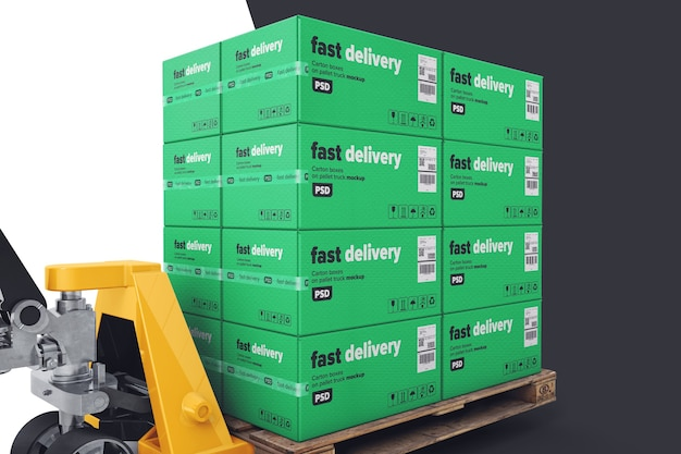 Pallet goods with hand pallet truck mockup