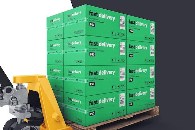 ハンドパレットトラックのモックアップ付きパレット商品