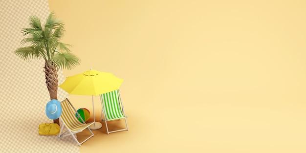 Пальма с зонтиком в кресле для отдыха в 3d-рендеринге