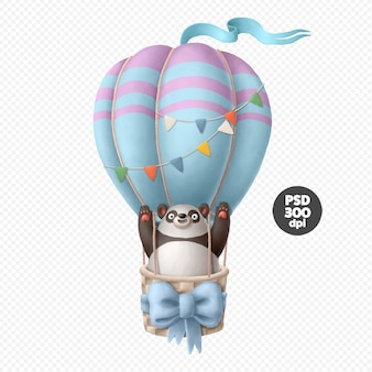Panda character on the air balloon illustration isolated