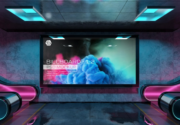 Panoramic billboard in futuristic underground station mockup