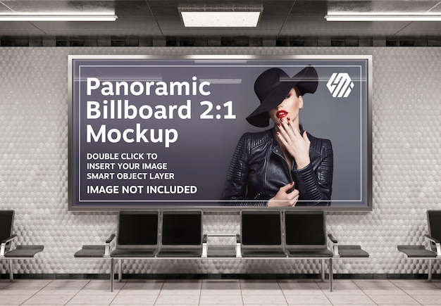 Panoramic billboard mockup on underground station