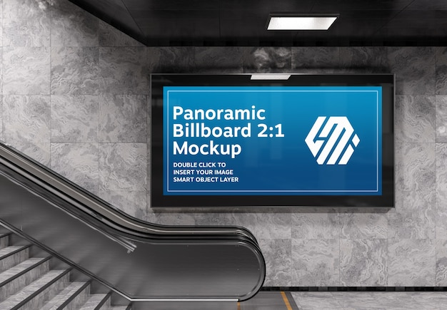 Panoramic billboard on subway escalator wall mockup