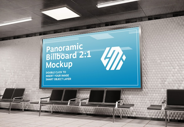 Panoramic billboard in subway station mockup