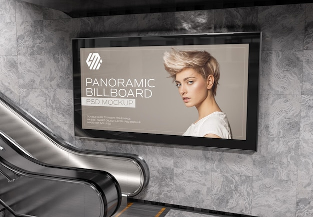 Panoramic billboard on underground station wall mockup