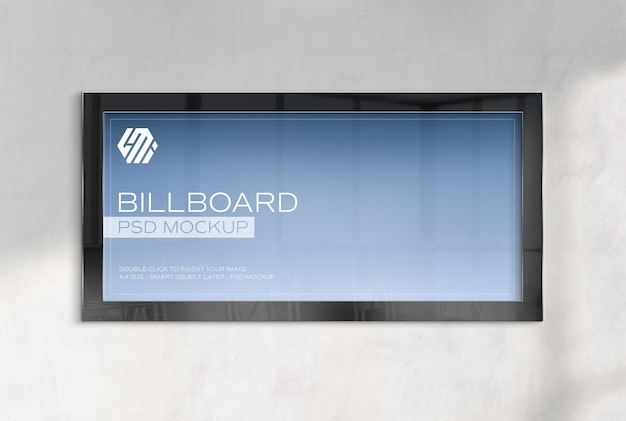 Panoramic frame hanging on concrete office wall mockup