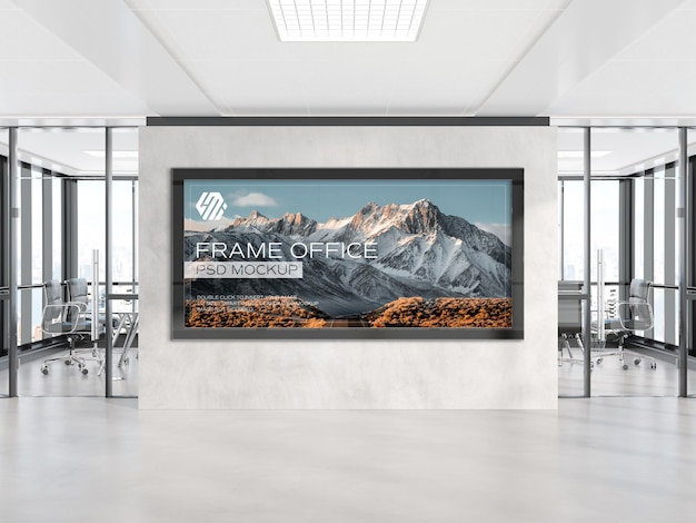 Panoramic frame hanging on office wall mockup