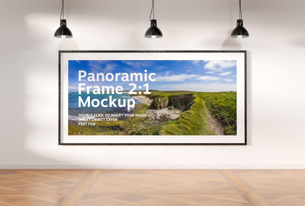 Panoramic frame in interior mockup
