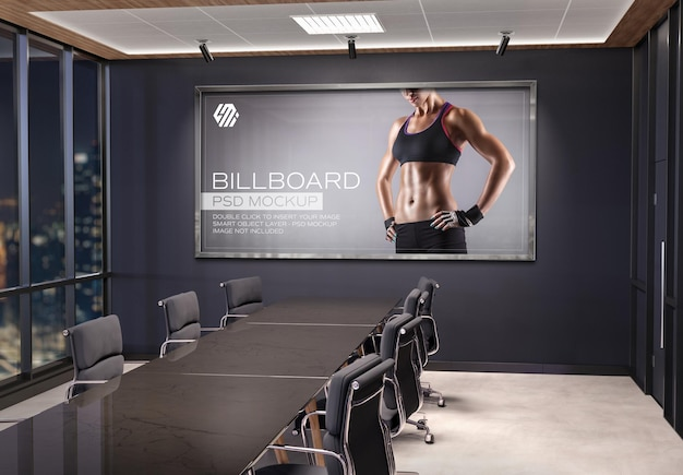 Panoramic frame  mockup hanging on office meeting room wall