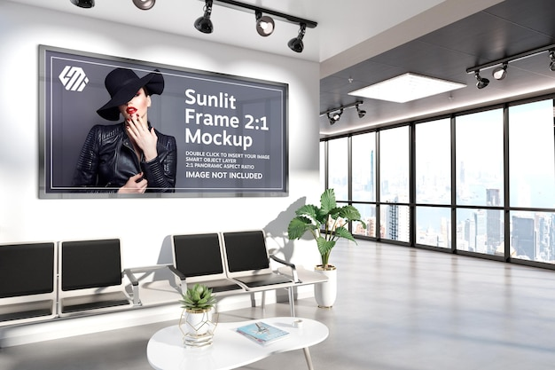 Panoramic frames hanging on office wall mockup