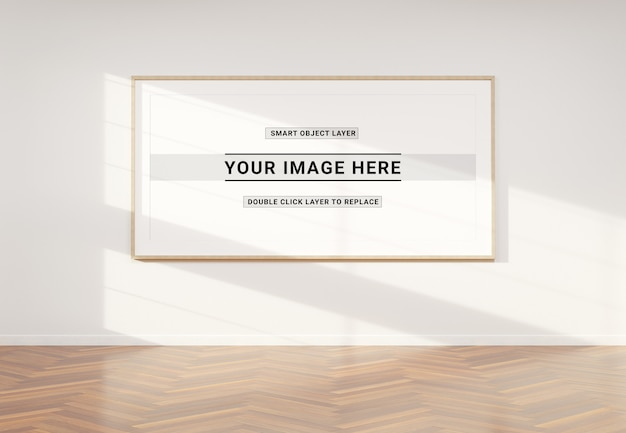 Panoramic photo frame in interior mockup