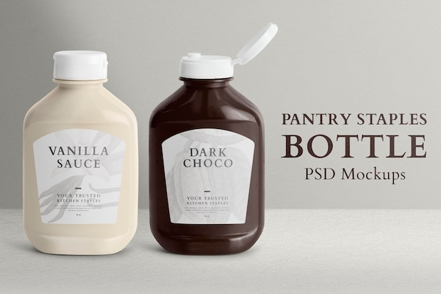 Pantry staple bottle mockup psd with labels