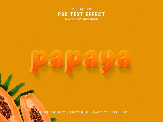 Папайя psd текстовый эффект, 3d реалистичный шаблон, стиль текста.