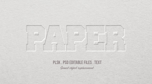 Paper 3d text style effect mockup