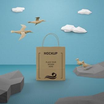 모형 종이 가방과 바다 생활 개념 무료 PSD 파일