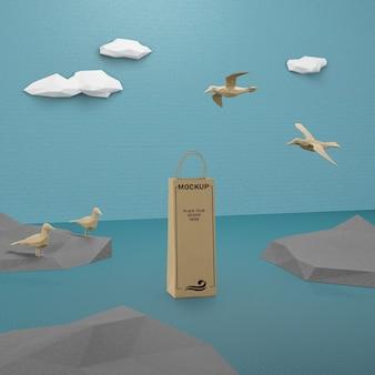 모형 종이 가방과 바다 생활 개념