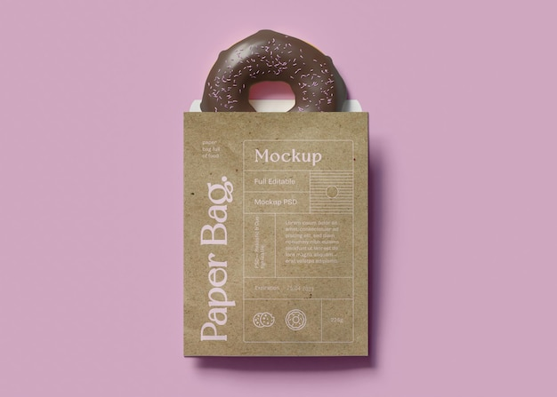 Paper bag and donut mockup