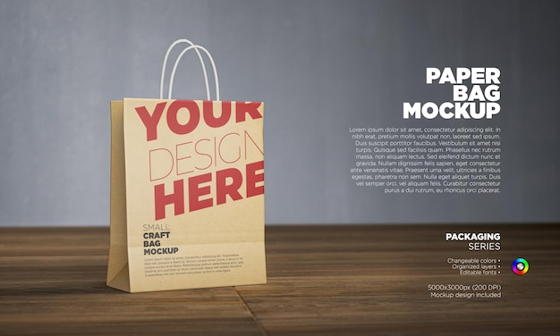 Paper bag mockup in 3d rendering