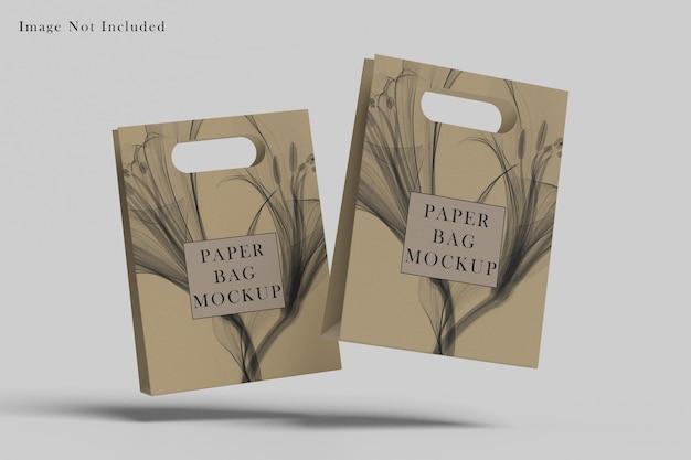 Paper bag mockup design isolated