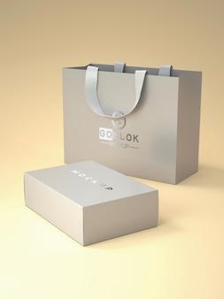Макет бумажного пакета с логотипом серебристого цвета