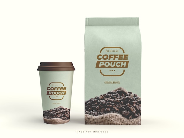 Paper bag packaging and cup for coffee beans and other food items