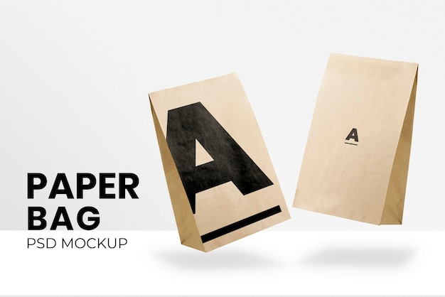 Paper bag packaging mockup psd for food company