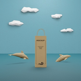 Paper bag and sea life concept with mock-up