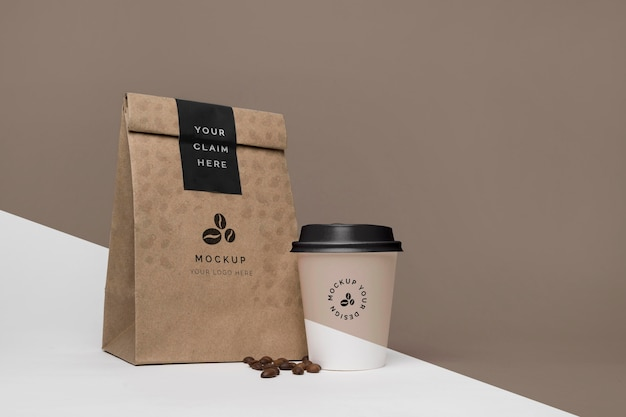 Paper bag with coffee mock up