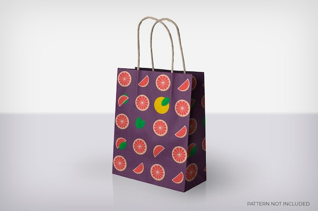 Paper bag with stripes mockup
