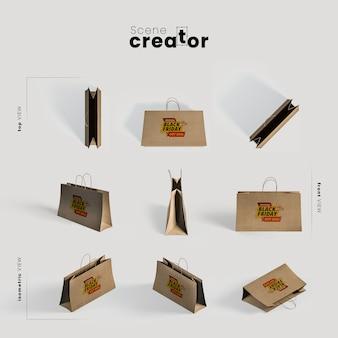 Бумажные пакеты для черной пятницы под разными углами для иллюстраций создателя сцены