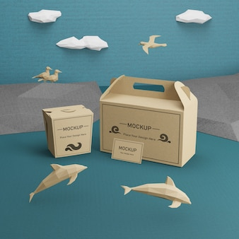 Paper bags kraft with dolphins mock-up