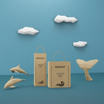 Paper bags and sea life concept with mock-up