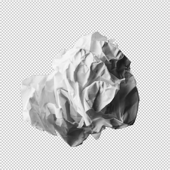 Paper ball over white background