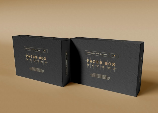 Paper box packaging mockup