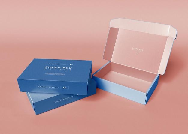Paper box packaging mockup