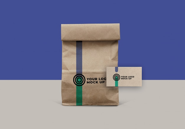 Paper and business card bag mockup