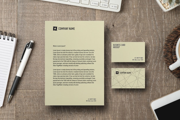 Paper and business card mockup