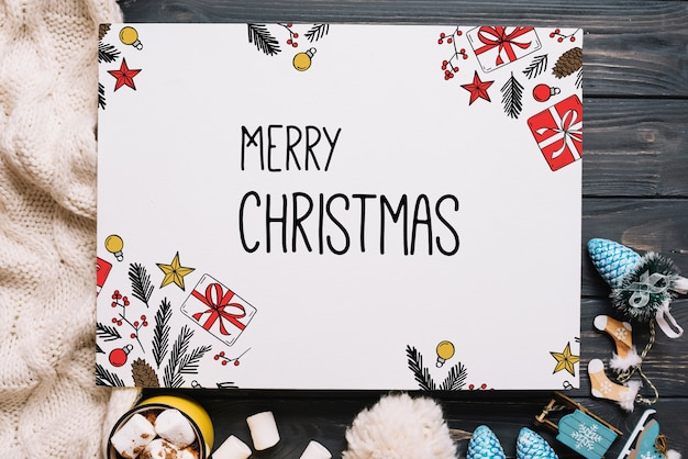 Paper card mockup with christmas elements