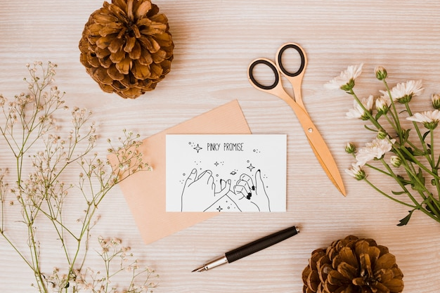 Paper card mockup with floral decoration