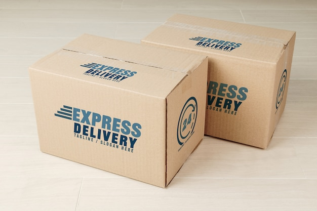 Paper cardboard boxes mockup template for your design