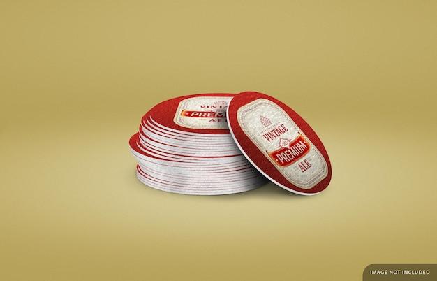 Paper coaster stack mockup design rendering