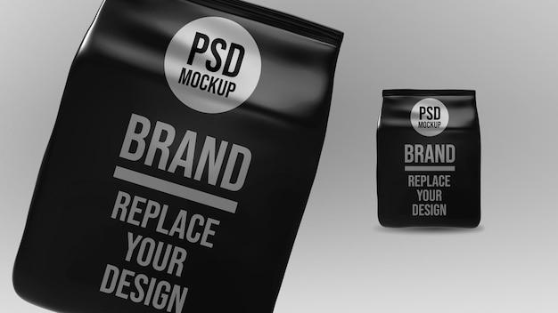 Бумажный кофейный пакет 3d-рендеринга макет дизайна Premium Psd