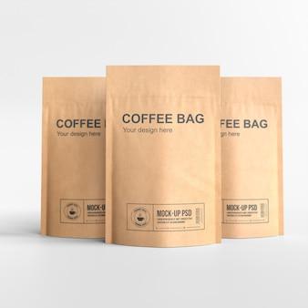 紙のコーヒーバッグのモックアップ