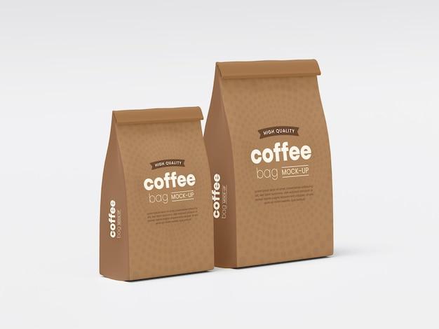 Мокап упаковки бумажного кофейного мешка