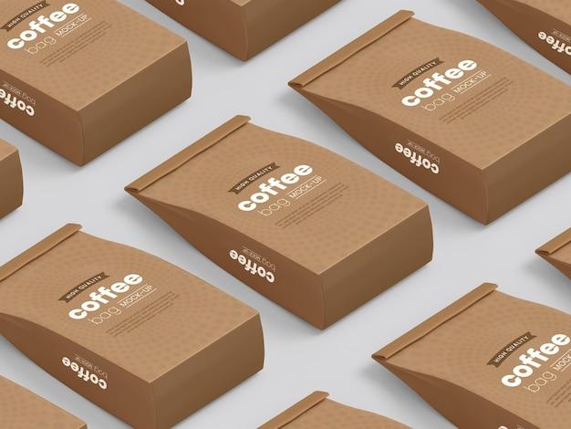 Mockup di imballaggio di sacchetti di caffè in carta