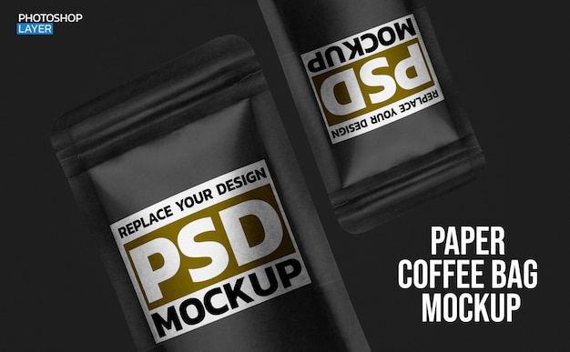 Paper coffee bag photo mockup design