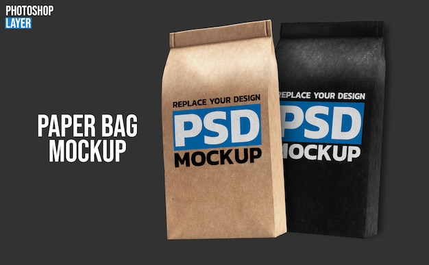 Бумажные кофейные пакеты макет